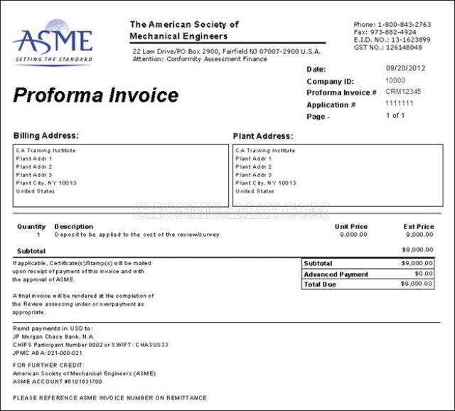 proforma invoice mẫu